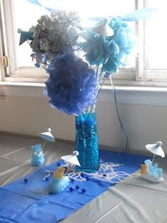 Centerpiece for umbrella themed baby shower