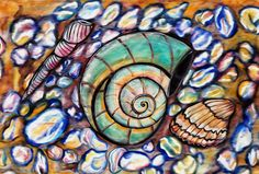 colour study using winsor & newton inks, caran d'ache watercolor crayons and acrylic medium gel pebbles and shells Color Studies, My Drawings, Shells, Watercolor, Deviantart, Painting, Conch Shells, Pen And Wash, Watercolor Painting