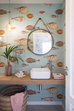 Bathroom Wall Decor, Bathroom Colors, Bathroom Interior Design, Colorful Bathroom, Dyi Bathroom, Remodel Bathroom, Bathroom Designs, Master Bathroom, Wallpaper For Small Bathrooms