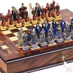 King Arthur the Legend of Camelot Chessmen  Napoli Chess BoardCabinet From Italy *** You can get additional details at the image link.