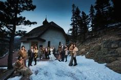 New Year's Eve Winter wedding at Peaceful Valley Resort & Conference Center in Lyons, Colorado.
