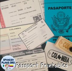 Passport Printables. Templates for Air ticket, Passport Cover, Passport Pages, Visa, and ID card!