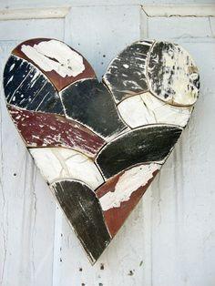 Mosaic Wall Heart Reclaimed Wood Art Black White Red