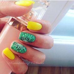 Acid yellow nails, Bright summer nails, Fruit nails, Green nail ideas, Ideas of yellow nails, Juicy nails, Juicy summer nails, Kiwi nails