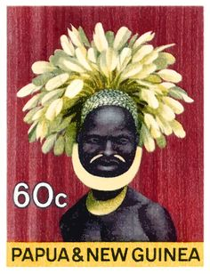 1968 Papua New Guinea Headress 60c Postage Stamp,papua,guinea,oceania,headdress,native,paradise,vintage,postage,stamp,mail,ephemera,island,costume,feathers,tribe,tribal,jungle,festival,ceremonial,indigenous,papua stamp