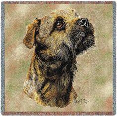 Border Terrier Dog Portrait Throw