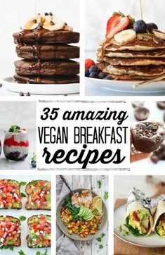 35 of the best vegan breakfast recipes around! From sweet to savory, these vegan breakfast ideas are so delicious. Don't miss the healthy pancakes, gluten free muffins, and plant based, high protein breakfast burritos!