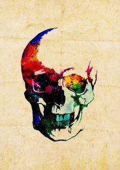 Colour explosion skull