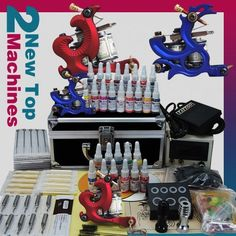 Professional Complete Tattoo Kit 2 Top Machine Gun 28 Color Ink 50 Needles Power Supply *** You can get additional details at the image link-affiliate link. #BeautySalonEquipment