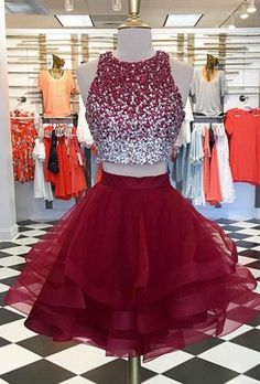 BURGUNDY TWO PIECES SEQUIN TULLE SHORT PROM DRESS,#Short Homecoming Dress #HomecomingDresses #Short PromDresses #Short CocktailDresses #HomecomingDresses