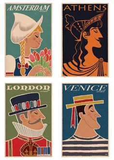 Visit Europe Travel Poster 4x6 greeting cards by peteremmerich, $12.00