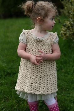 Super Sweet Little Girl's Pinafore: FREE crochet pattern by Maxine Gonser