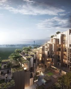 Bjarke Ingels Group collaborated with Oscar Properties for a new residential project in Stockholm's Gärdet district, adding 140 apartments to the Swedish capital. 79 & Parl, as the development is called, consists of stacked prefabricated housing units, with green terraces, covered in foliage and placed around a central courtyard.