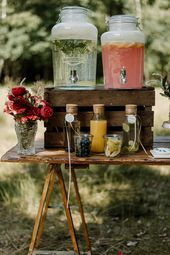 Drink Bar Trend: Tips & Ideas for your DIY sodas Bar for wedding to design yourself - Candybar - Wedding Party Candybar Wedding, Diy Wedding Bar, Wedding Save The Dates, Wedding Blog, Drinks Wedding, Drink Bar, Bar Drinks, Beverages, Antique Bar