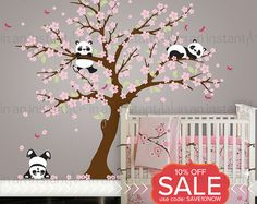 Panda and Cherry Blossom Tree Wall Deca Panda Wall Decal Blossom Tree for Baby Nursery Kids or Childrens Room 094 * See this great product. Nursery Decals, Name Wall Decals, Girl Nursery, Girl Room, Wall Stickers, Sticker Mural, Bear Nursery, Girls Bedroom, Master Bedroom