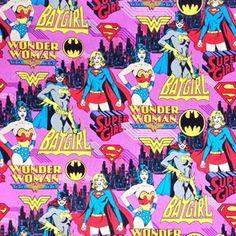 8 YARDS FABRIC  WONDER WOMAN SUPER GIRL BATGIRL FEMALE SUPERHEROS  CAMELOT  BOLT
