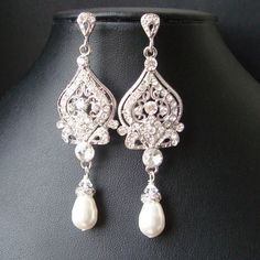 Vintage Wedding Bridal Earrings, Rhinestone Chandelier Wedding Earrings, Hollywood Glamour Jewelry, Ivory White Pearls, JACQUELINE. $59.00, via Etsy.