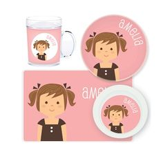 Girl Personalised Kids Mealtime Set $32.95 - $39.95 #sweetcreations #baby #toddlers #kids #personalised Personalized Gifts For Kids, Personalized Plates, Personalized Stickers, Pottery Painting Designs, Baby Girl Birthday, Daughter Of God, Gifts For Girls, Projects To Try, Gift Ideas