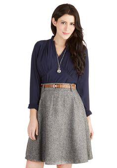 Vice Versatility Skirt - Woven, Mid-length, Grey, Belted, Work, Menswear Inspired, A-line, High Waist, Better, Grey