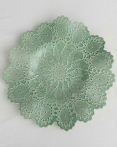 Royal Oak Ceramic lace dish by Maggie Weldon Royal Oak, Air Dry Clay, Pottery Ideas, Diy Projects To Try, Kitchen Stuff, Tablescapes, Decorative Plates, Bows, Craft Ideas
