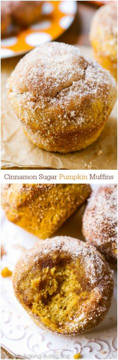 """Perfect pumpkin muffins coated with cinnamon sugar. They taste like your favourite pumpkin muffins from the bakery!"" - I grew up with the deliciousness of pumpkin scones, these muffins sound lovely! Sugar Pumpkin, Pumpkin Dessert, Pumpkin Spice, Pumpkin Pumpkin, Köstliche Desserts, Delicious Desserts, Dessert Recipes, Yummy Food, Pumpkin Recipes"