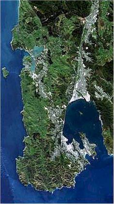 Aerial shot of Wellington, New Zealand, where the amazing Beethoven's backpacker hostel was...