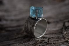Rough Fluorite Sterling Silver Ring-Blue Green Raw Fluorite Ring-Fluorite Crystal Wide Vintage Inspired Ring on Etsy, $70.00