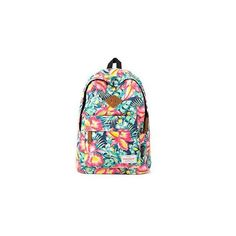 Canvas Floral Backpack (1,695 DOP) ❤ liked on Polyvore featuring bags, backpacks, backpack, accessories, canvas rucksack, floral print backpack, red canvas backpack, floral canvas backpack and red canvas bag