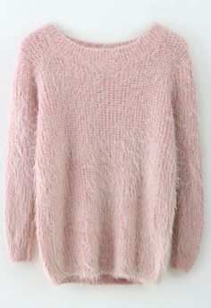 Basic Fluffy Sweater in pink