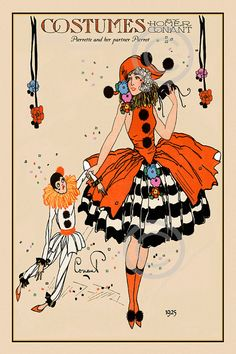 Art Deco Whimsical Rare Homer Conant Beauty Costume Pierrette and her partner Pierrot Boudoir Bed Doll Giclee Fine Art Print 1922 CIrcus outfit, orange, black, white, doll Art Vintage, Vintage Circus, Vintage Prints, Vintage Posters, Art Deco Illustration, Illustrations, Pierrot Costume, Pierrot Clown, Image Halloween