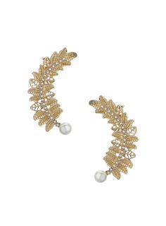 Pair of gold tone leaf ear cuffs with pearl and crystal glass rhinestone detail. Ear Cuffs, Miss Selfridge, Asos, Leaves, Accessories, Romance, Romance Film, Romances, Romance Books