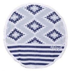 Serviette de plage ronde Montauk bleue et blanche