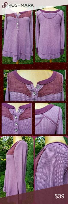 We the Free People Thermal Swing Trapeze Top WTF by fp top waffle knit thermal textured Henley w/knit insert at bib area  sz medium oversized & stretchy so depending on how u like ur stuff to fit can size down or maybe even up for an uber sized fit  lightly worn. i remember wearing 1x & fit was too big for me underwhelmed my body frame  IMHO.   meant to be oversized but I am short so felt was a bit too big/long for my liking. at 5'1-2'-ish & 130 to 140 lbs so I am not small.in girth just…