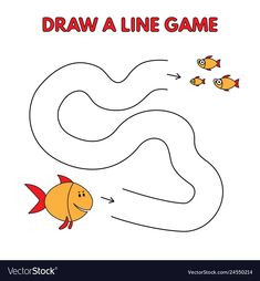 Cartoon fish draw a line game for kids vector image on VectorStock Nursery Worksheets, Fun Worksheets For Kids, Mazes For Kids, Fish Activities, Preschool Learning Activities, Activities For Kids, Preschool Curriculum Free, Alphabet Drawing, Science Room