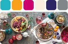 Modern Moroccan Color Palette :: Teal, orange, fuchsia, and eggplant, lime green, gold, and chocolate