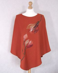 Poncho sweater shawl with needle-felted flower by CreoFelt on Etsy