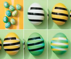 """Create a pattern on Easter eggs, by Martha Stewart. 1.Add 1/4"""" vinyl electrical tape(cut w/ xacto knife)or vinyl letters. Dye yellow:1 drop food coloring/ 1/4t white vinegar 2 Dry; Remove tape; add tape;swirl in opposite direction; dye blue  3 Dry ;remove tape."""