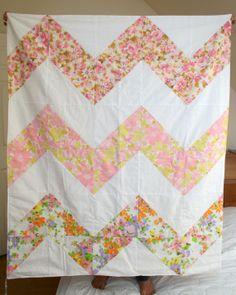 Chevron Striped Quilt, Pink Vintage Sheets, 3ft. X 4 ft.. $98.00, via Etsy.
