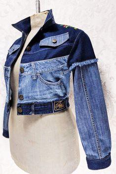 Diy Old Jeans, Diy Clothes Refashion, Denim Art, Sweat Dress, Denim Ideas, Patchwork Jeans, Love Jeans, Denim Blouse, Recycled Denim