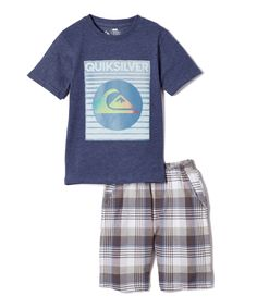 Navy Tee & Gray Plaid Shorts - Infant, Toddler & Boys