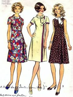 Vintage 70s Simplicity Look Slimmer Dress Pattern Plus Size 18.5 B41
