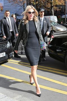 Kate Moss Top coats, leather jacket, little black dress, lbd, street style, woman fashion