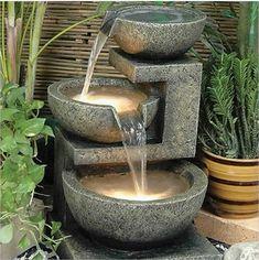 Zen rock and water fountain