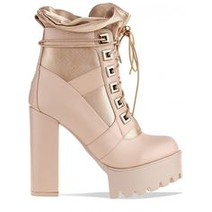 Renegade Lace Up Extreme Platform Ankle Boots In Nude PU ($63) ❤ liked on Polyvore featuring shoes, boots, ankle booties, lace up platform boots, platform bootie, high heel bootie, faux suede lace-up booties and lace up platform bootie