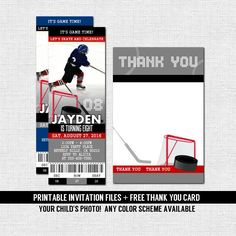 Hockey Party Ticket Invitations Template red black Hockey