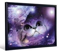JP London Framed Fantasy Kitty Cat Kitten In Space Gallery Wrap Heavyweight Canvas Art Wall Decor,     If you are crazy for cats consider using trendy, fun and cool cat themed home decor.  Cat home decor is cute, adorable and charming.  Use cat accent pillows with cat wall clocks to create a cat themed living room or bedroom.  For the kitchen consider using a nice combo of cat drinking glasses and cat kitchen decor to create a perfect cat oasis. Don't forget to finish off your  cat home…