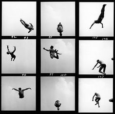 I forever love contact sheets. Aaron Siskind, Pleasures and Terrors of Levitation, 1953.