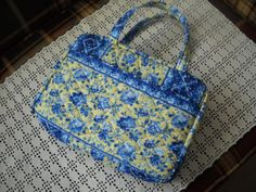 Blue and Yellow Floral Quilted Zippered Bible Cover