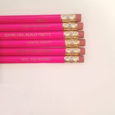 """""""Legally Blonde"""" assorted engraved pencil set 6 by thecarboncrusader"""