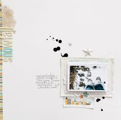 Snowfall-Marcy Penner.  Love the little village scrap and the pine bough stamping beside the vertical title.